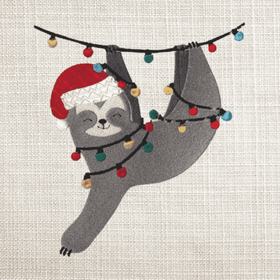 Christmas Sloth machine embroidery files featured image